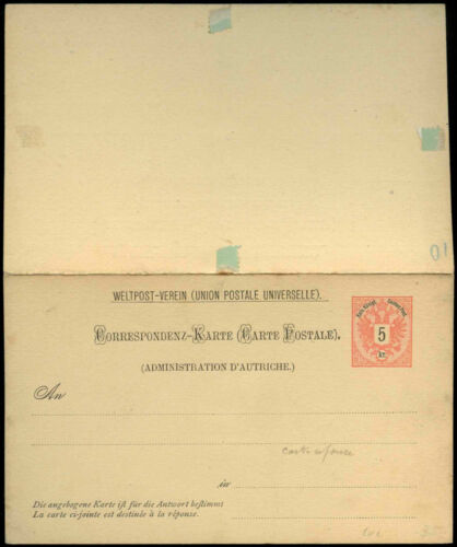 Austria 1899, 5k Stationery Card+ Reply Card, Unused #C16352