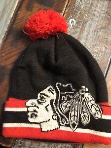 110353100dc Youth Chicago Blackhawks Cuffed Knit Hat Pom NHL Beanie Logo New CCM ...