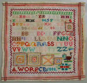 1888 ANTIQUE DUTCH COLORFUL WOOL WORK ALPHABET CROSS STITCH SAMPLER