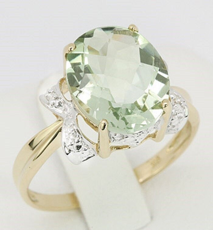 9ct gold Fine Jewellery   4.31ct Oval Cut Natural Green Amethyst & Diamond Ring