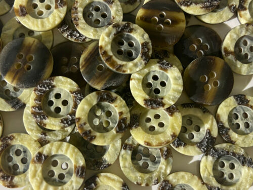 """New Listing Natural//Yellow//Brown Faux Stone Poly Button 15mm 5//8/"""" 4hole"""