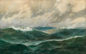 ZWPT1414-ocean-seascape-amp-flying-birds-hand-painted-oil-painting-art-on-Canvas
