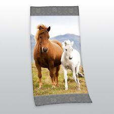 Duschtuch Badetuch Handtuch Strandtuch Velourstuch Pferde 75 x 150cm