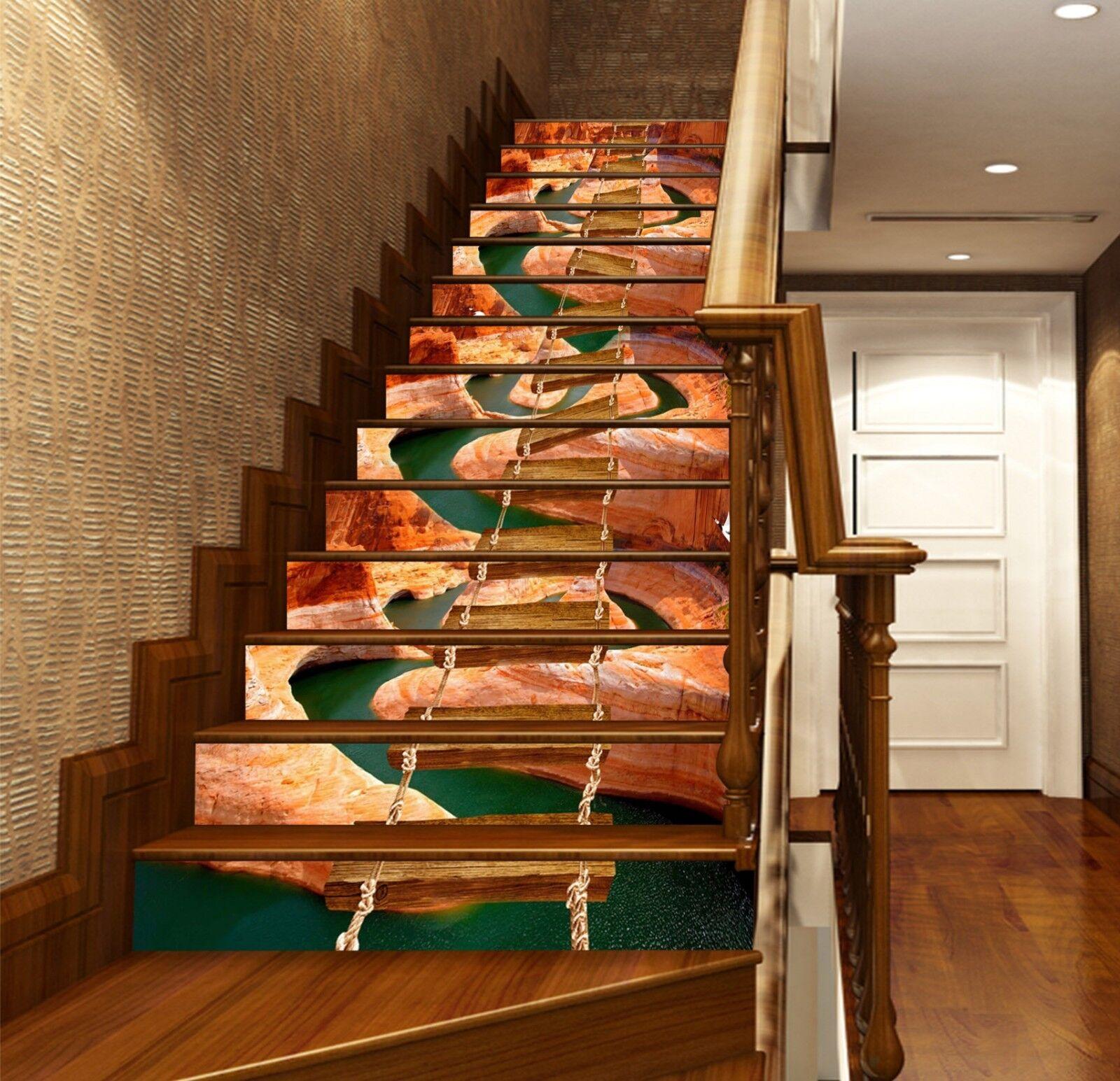 3D Wooden Bridge 4 Stair Risers Decoration Photo Mural Vinyl Decal Wallpaper UK