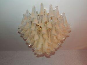 Lampadario vetro murano a foglie rosa placcato oro lampadine