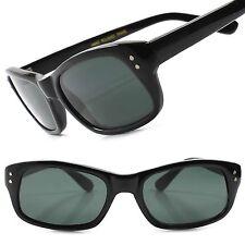 True Vintage Deadstock Old 80s Fashion Mens Black Rectangle Hipster Sunglasses