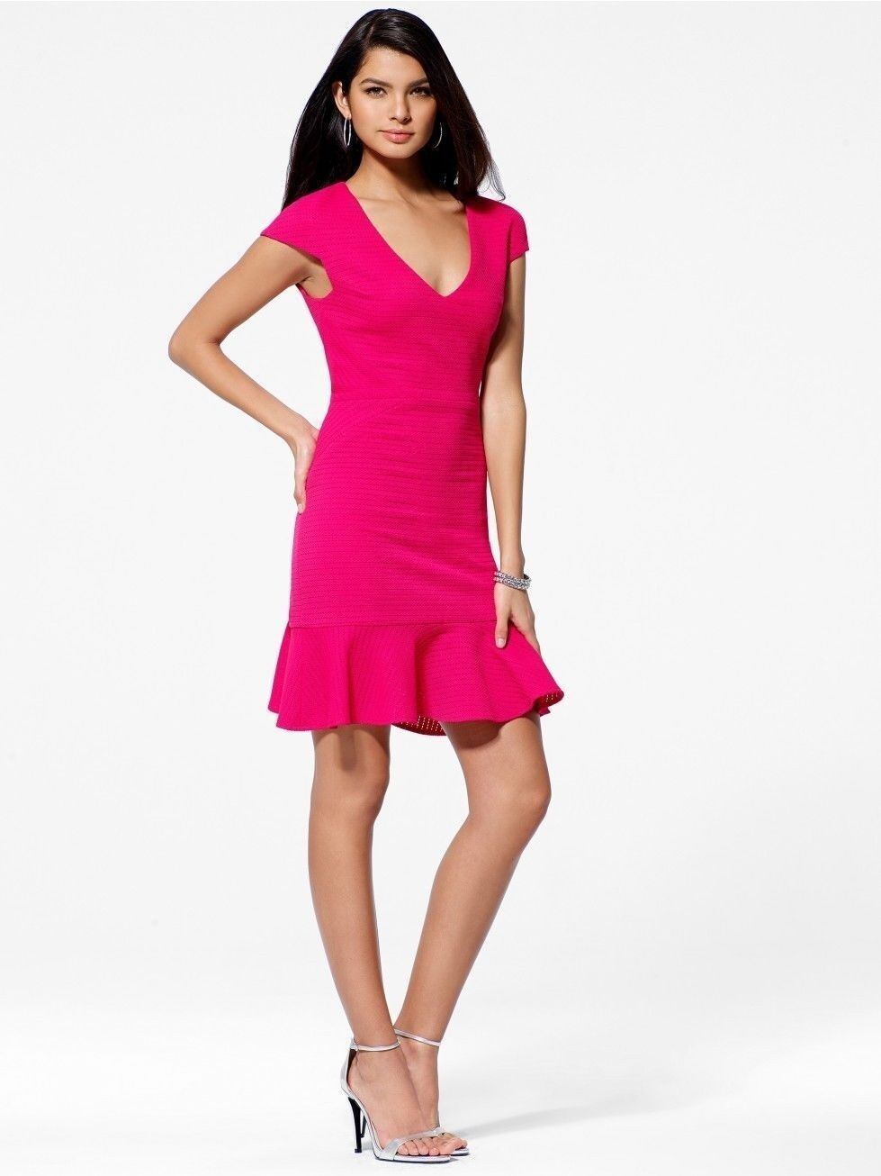 NWT Sexy Pink Knit Flounce Stretch Dress Brand Cache    4 S