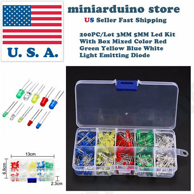 200Pcs 3mm 5mm LED Light White Yellow Red Blue Green Assortment Diodes Kit