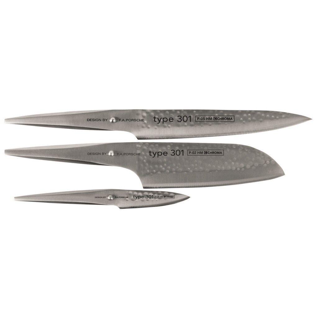 Chroma Type 301 Hammerschlag Küchenmesser Kochmesser set Messerset 3 tlg. neu