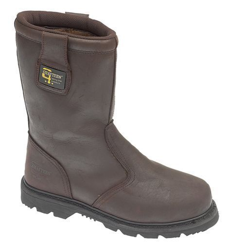 MENS BROWN LEATHER SIZE 6 7 8 9 10 11 12 13 14 15 SAFETY TOE CAP RIGGER FUR BOOT