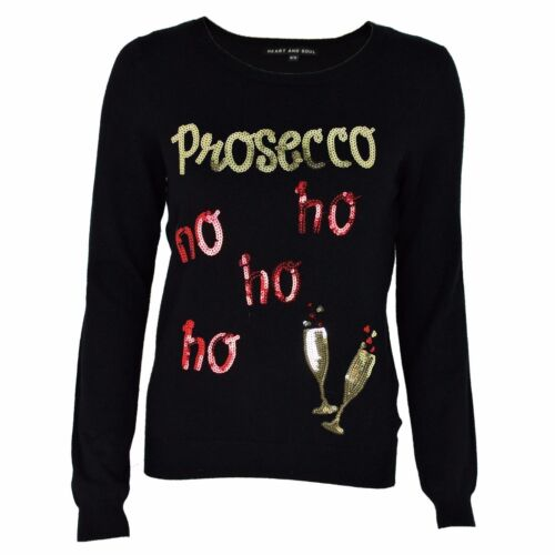 Womens Ladies Girls Christmas Novelty Funny Jumper Prosecco Xmas Sweater Top New