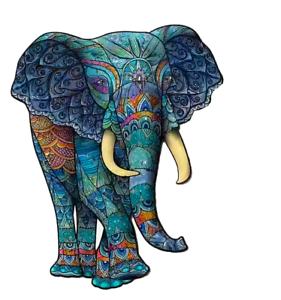 Knokis.co A4 Wooden elephant Jigsaw Puzzles Mysterious Puzzle Gift For Adult