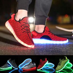 Unisex 7 Color LED USB Light Lace Up Bright Men's Sportswear Sneaker Shoes Novel