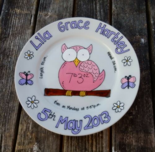 Hand painted personalised new baby birth gift plate owl design