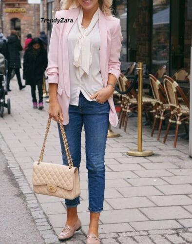 Blazer New Zara Pink Sleeve Roll Collar Lapel Ss17 2401 up Crepe 778 S Jacket AUawUx