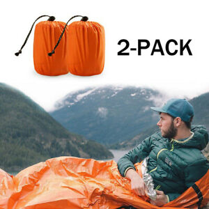 2-Pack-Emergency-Sleeping-Bag-Thermal-Waterproof-Outdoor-Survival-Camping-Bag-US