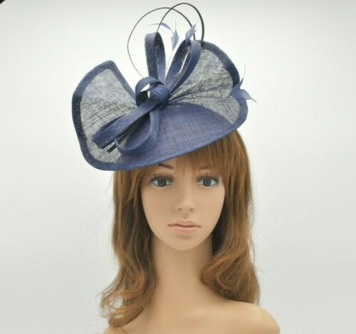Navy Blue Kentucky Derby Church Wedding Easter Tea Party Sinamay Fascinator M813
