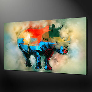ABSTRACT RHINO CANVAS PRINT PICTURE WALL ART FREE UK DELIVERY VARIETY OF SIZES
