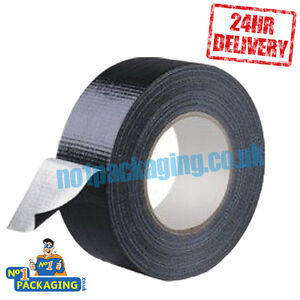 24 Rolls 50mm x 50m Black Gaffer Gaffa Waterproof Duct Duck Cloth Adhesive Tape