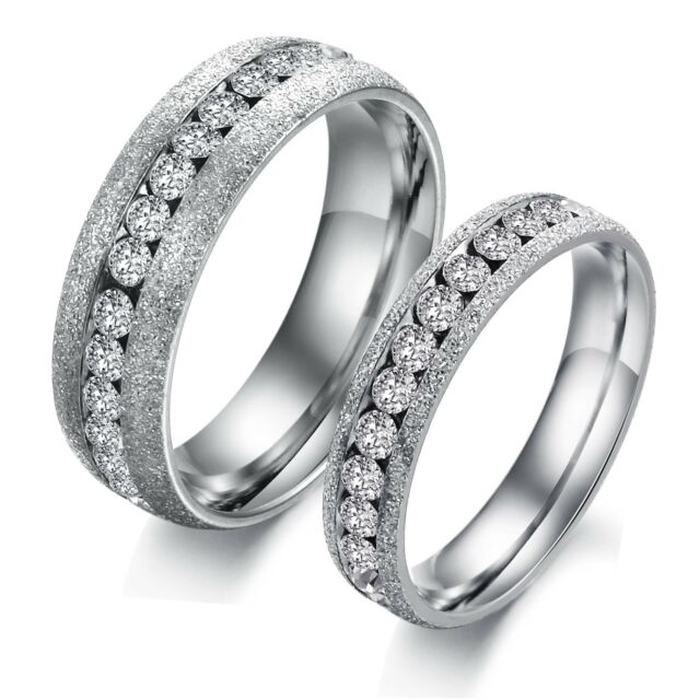Man Women Crystal Stainless Steel Modern Wedding Engagement promise Rings Band