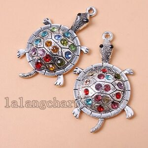 3x-Cute-Vintage-Silver-Alloy-Colorful-Rhinestone-Tortoise-Pendant-Fit-Jewelry-LC