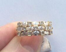 Beautiful 14K Yellow Gold 3 Row Diamond Wedding Band Ring - Interesting