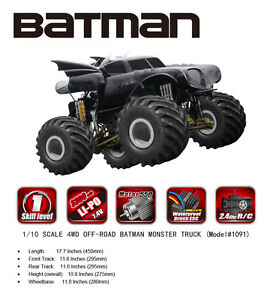 Details about AU store Remo hobby 2 4G 1/10 Electric 4WD RC Car Batman  Monster Truck Off Road