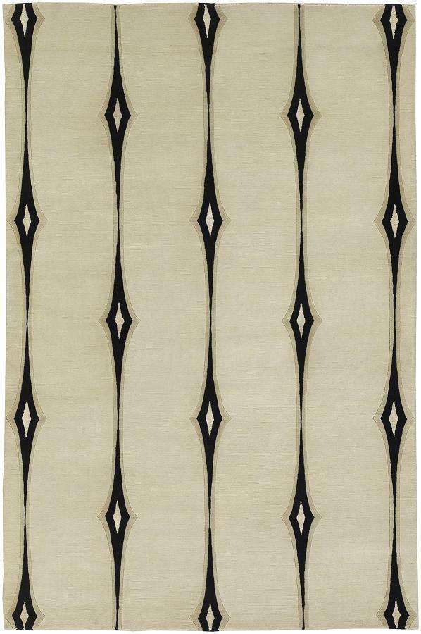 Surya Hand Knotted Wool Modern Abstract Ivory 2x3 Rug - Approx 2' x 3'