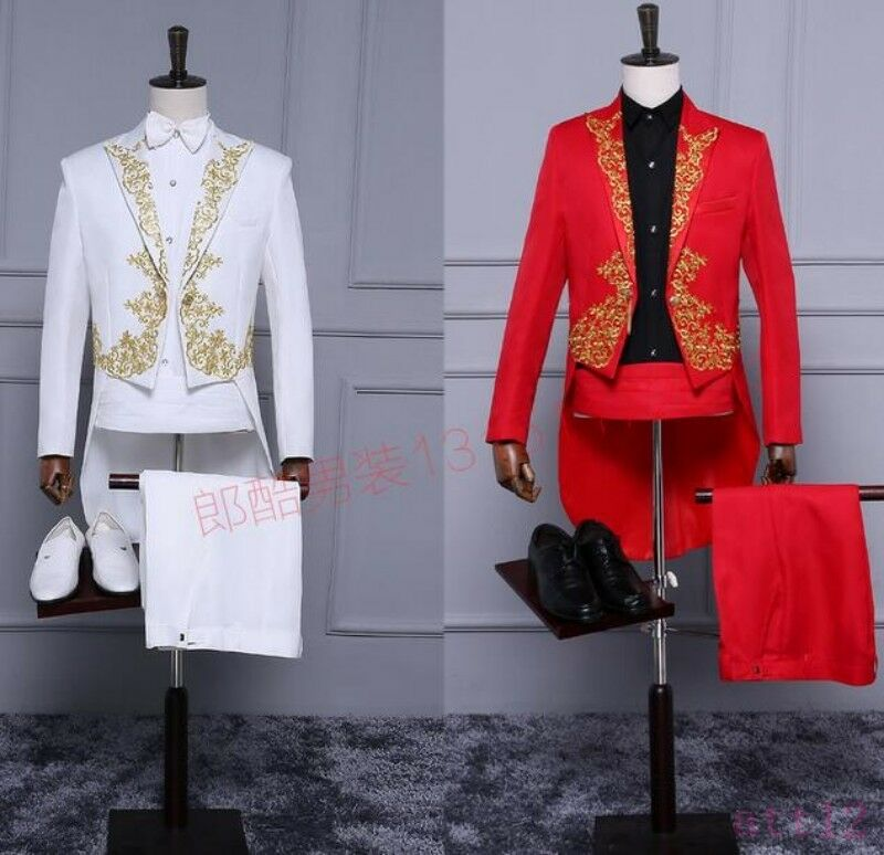 New Coat Pant Mens gold Tuxedo Dress Suit Formal Evening Embroidery Show Weddig