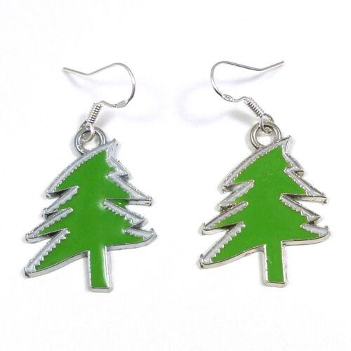 Árbol De Navidad Verde Claro 2cm colgantes pendientes de plata esterlina Ganchos Esmalte