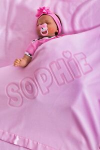 Personalised Baby Cotton Receiving Blanket Pink Any Name Colour Keepsake Gift