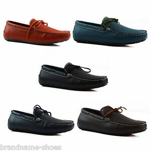 aa825677f4f MENS SLIP ON LEATHER BOAT DECK SHOES CASUAL MEN S EVERYDAY ...