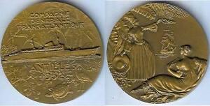 Medaille-de-table-ANTILLES-1952-Cie-Generale-Transatlantique-DELAMARRE-d-54mm
