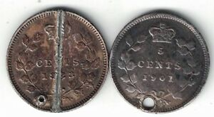 2-X-CANADA-FIVE-CENTS-SMALL-NICKELS-VICTORIA-925-SILVER-COINS-1883H-1901-HOLED