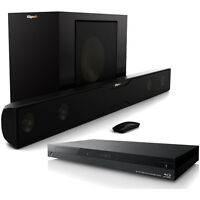 Klipsch R-20B Sound Bar with Wireless Subwoofer with 4k Blu-ray Player