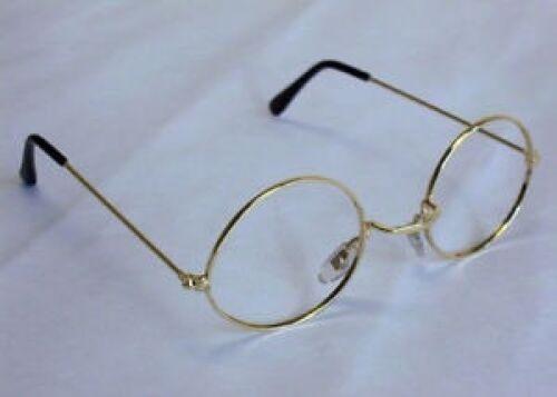 Old Lady Specs Round No Lens Gold Frame Glasses Santa Suit Fancy Dress