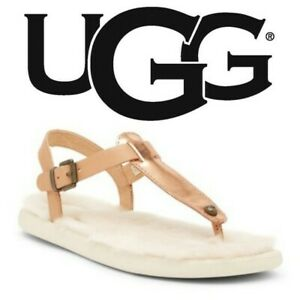 a0e600364fb Details about UGG Lou Lou Genuine Shearling Sandal Rose Gold Sz 5 NEW  1010688