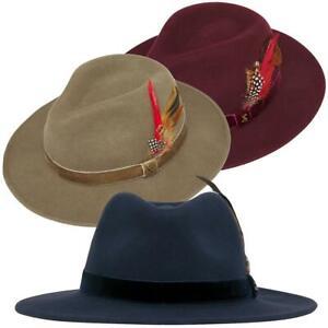 Joules Ladies Fedora Felt Hat Fench Navy Khaki Gren Oxblood S M L