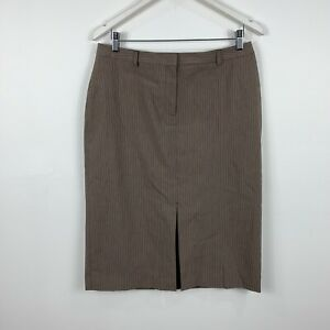 Country-Road-Womens-Vintage-Pencil-Skirt-Size-12-Brown-Striped-Good-Condition