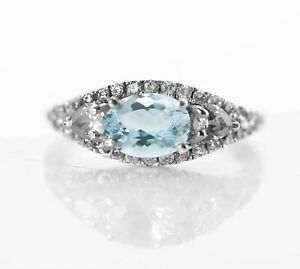 925-Sterling-Silver-Ring-Blue-Aquamarine-Natural-East-West-Size-4-11