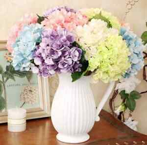 Image Is Loading Fake Silk Flowers Bouquet Artificial Hydrangea Wedding Bridal