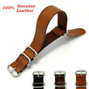 Vintage-Men-Genuine-Leather-Army-Military-Buckle-Watch-Strap-Band-18mm-20mm-22mm