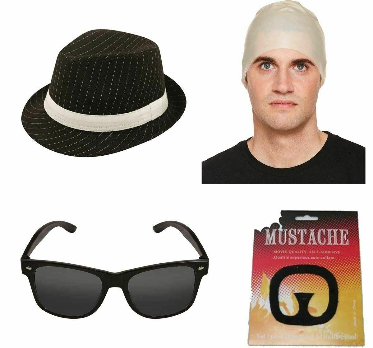 Mens Breaking Bad Gangster Hat Moustache Glasses And Bald Cap Accessory 4Pcs Set