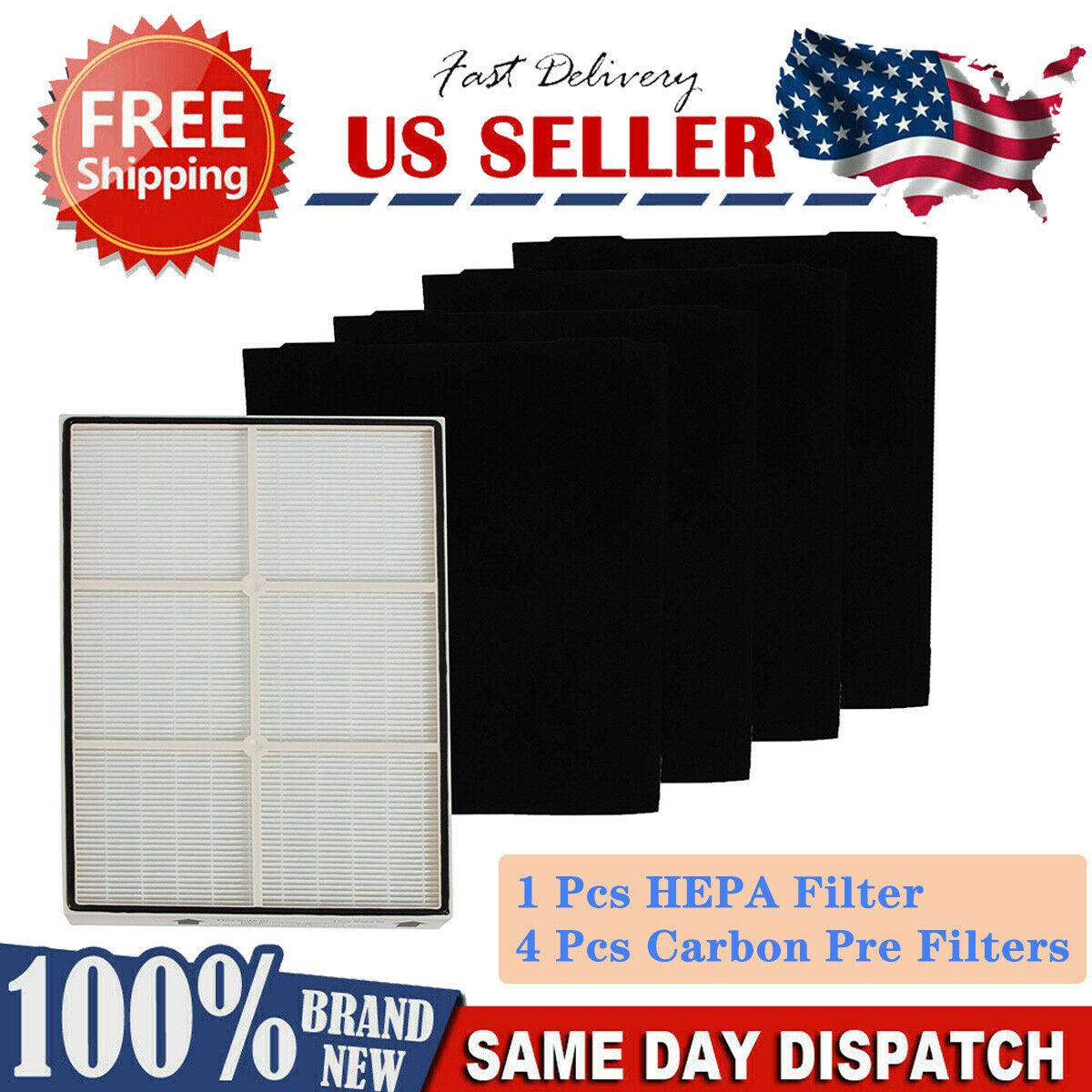 4pk Air Filters Compatible with Whirlpool Carbon Pre Filter AP450 Rep