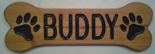 5 x 14 inch size CEDAR! Bone Shaped DOG name Plaque! Custom Carved Wood Sign!