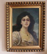 Alte Portrait junge Frau Ölgemälde Öl Leinwand