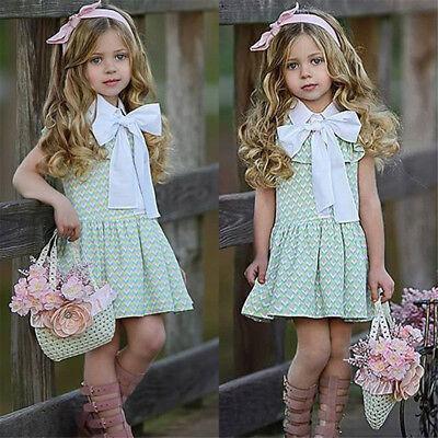 UK Toddler Kids Baby Girls Princess Pageant Summer Dress Sundress Clothes gtrett