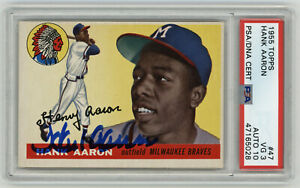 1955-BRAVES-Hank-Aaron-signed-card-Topps-47-PSA-DNA-AUTO-10-Autographed-2nd-Yr