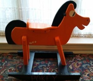 RARE-SOLID-WOOD-GUMBY-039-S-PAL-POKEY-ROCKING-HORSE-CHILD-039-S-SIZE-ROCKER-RIDE-ON-TOY