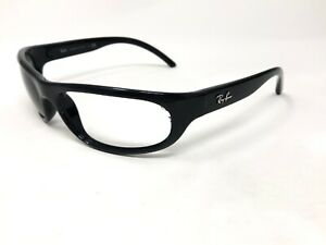 RAY-BAN-RB4033-601-Sunglasses-Frame-Mens-Italy-Black-Polished-Wrap-LA03